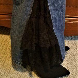 DKNY Size 8L Black Lace Inserts Bell Bottom